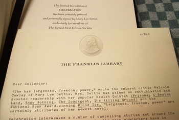 Franklin Library notes Mary Lee Settle